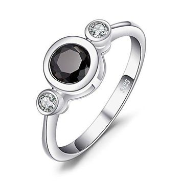 JewelryPalace Succinct 13ct Green Created Black Spinel Bezel Setting 3 Stone Ring 925 Sterling Silver
