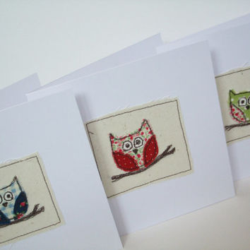 Owl Card - Machine Embroidered