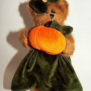 "Teddy Bear Holding Pumpkin 10"" Silky Brown Plush Stuffed Animal Collectible Bearington Fall Halloween Home Decor"