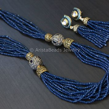 Contemporary Layered Crystal Beads Necklace -Blue