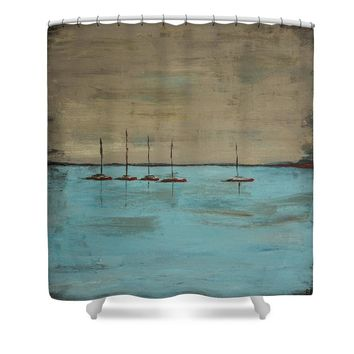 Sunset Boats Shower Curtain for Sale by Ben Gertsberg
