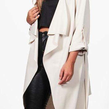 Plus Daisy Belted Waterfall Duster Coat | Boohoo