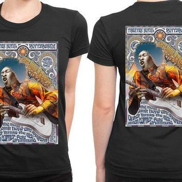 MDIG1GW Jimi Hendrix And Pink Floyd Concert Poster 2 Sided Womens T Shirt
