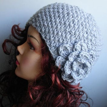 Hand knit beanie hat with crochet flower in GRAY women's fashion - autumn accessories - womens cloche hat with flower -crochet flower