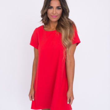 Red chiffon shift dress