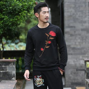 Homme Casual Cotton Clothes Luxury Brand Men's Sweatshirts Chinese Retro Embroidery Roses Flowers Hoodies Color Black White
