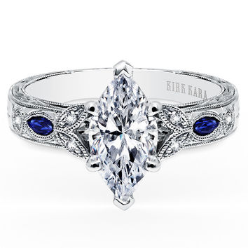 "Kirk Kara ""Dahlia"" Marquise Cut Blue Sapphire & Diamond Engagement Ring"