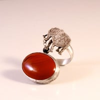 Circus Elephant Open Double Ring with Red Jasper and Gold Foil Bead- Sterling Silver- Antique Patina Finish- Fit Size 4-6 - Animal Lover
