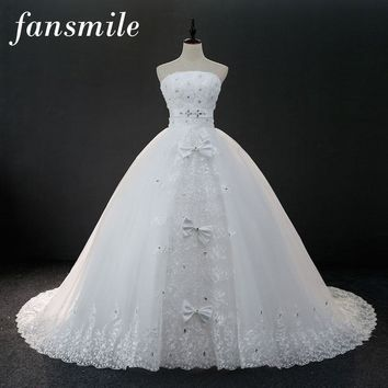 Lace Up Bow Long Train Wedding Dresses Robe