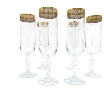 Vintage Gold Banded Etched Champagne Flutes, Set of 2 Etched Champagne Glasses, Gold Trim Champagne Flutes, Wedding Glasses, Toasting Flutes