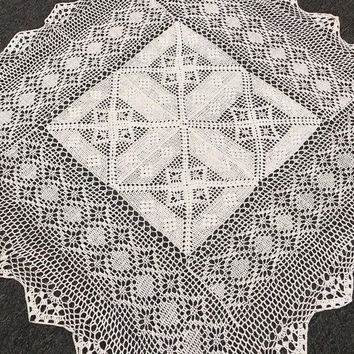 "White 100% Cotton Vintage Handmade Crochet Lace 36"" Tablecloth Elegant Linen"