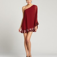 Oxblood Sequined Chiffon Evan One Shoulder Dress
