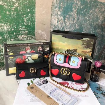 GUCCI GG Marmont Leather Shoulder Bag + Marmont Wallet Two-piece