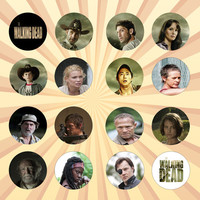 THE WALKING DEAD Set of 16 - 1 Inch Pinback Buttons or Magnets