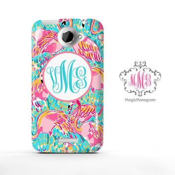 Peel and Eat Flamingo Lilly Pulitzer Monogram HTC Case M9, M8 Case