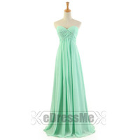 Sage sweetheart Ruched Chiffon Long Bridesmaid Dress / A-Line Chiffon Bridesmaid Dress //discount Prom Dress/Party Dresses Under 100 e2063
