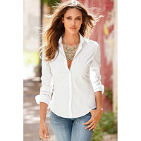 Pointed Collar Buttoned Rolled Sleeve Polo Blouse