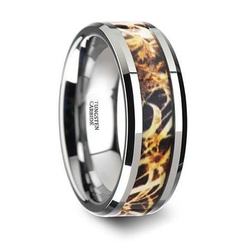 Leaves Grassland Silver Tungsten Camo Wedding Band Beveled Polished Finish - 8mm