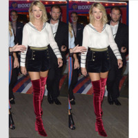Thick with high knee-high boots stretch boots with velvet boots Red