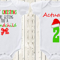 Twin Christmas Pregnancy announcement idea for grandparents / parents Onesuit ® brand bodysuit  Twin baby announcement Christmas present