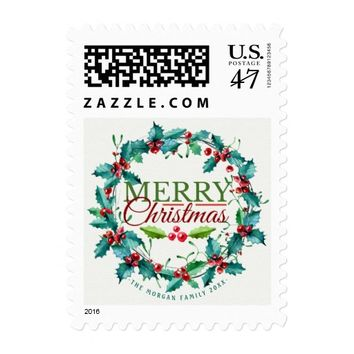 Green Red Watercolor Holly Wreath Merry Christmas Postage Stamp