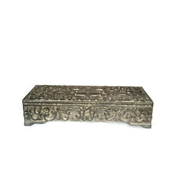 Silver Jewelry Box Vintage Godinger Silver 1992 Vintage Jewelry Box Leaf and Scroll with Flowers Design Velvet Interior with Mirror