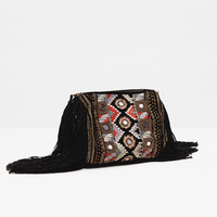 EMBROIDERED FRINGED BAG