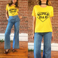 Vintage 1970's SUPER DAD Paper Thin Ringer Tee || Yellow 50 / 50 T Shirt || Unisex || Mens XS Ladies Small To Medium