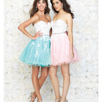 Pink & White Strapless Lace Cocktail Dress