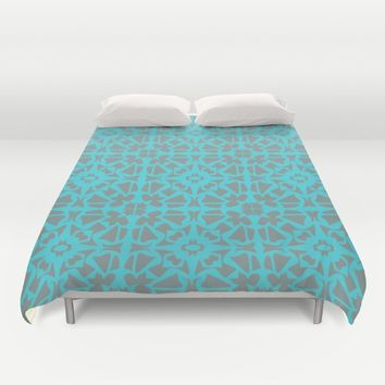 Turquoise and Gray Pattern  Duvet Cover by Xiari