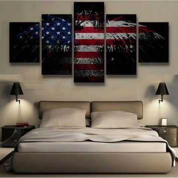 No Frame  American Eagle Flag 5 Panels Canvas Print Wall Art  Home Decor Picture for Living Room