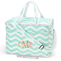 Monogrammed Hot Pink Anchors Large Cooler Bag | Summer | Marley Lilly