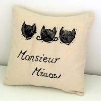 Monsieur Miaow Cat Natural Cushion - Black, Neutral Beige Cotton Print Pillow - Hand Printed Mustache Quirky, Fun, Stylish, Under 40 Dollars