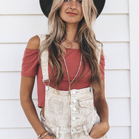 Far From Over Taupe Denim Overalls