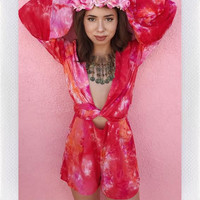 THE FESTIVAL PLAYSUIT- PINK TIE DYE