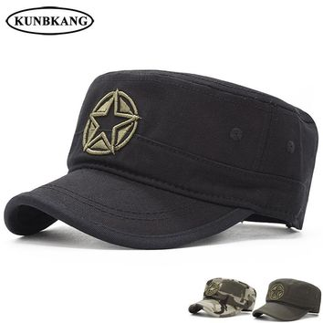 Trendy Winter Jacket New Army Camouflage Flat Top Cap Men Embroidery Star Cotton Hat Male Summer Casual Tactical Camo Snapback Baseball Caps Dad Hat AT_92_12