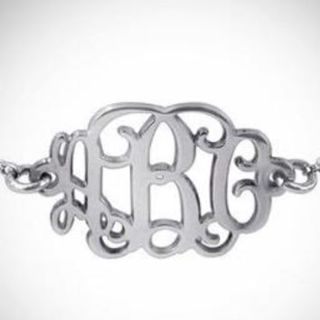 Personalized Monogrammed .925 Sterling Silver Chain Bracelet
