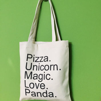 TBAG-539 - Pizza. Unicorn. Magic. Love. Panda. - Good Things In Life - Printed Tote Bag Canvas - by HeartOnMyFingers