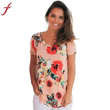 Floral Printing T Shirt 2017 Summer Women Casual Cotton Blends Short Sleeve tshirts Women Patchwork Plus Size