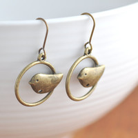 Antiqued Brass Bird in Cage Earring - sparrow earring, bird cage earring, sale