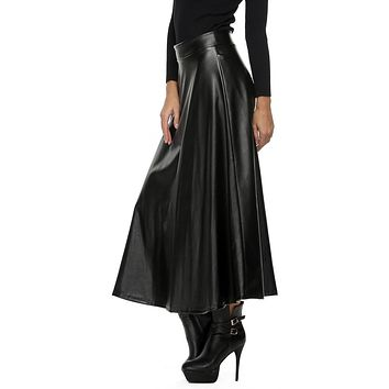 3 colors Black Winter Women's Maxi Skirt PU leather long skirt Slim Waist Autumn Vintage fashion Pleated Swing skirt