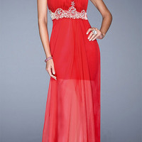 Red Sweetheart Neckline Rhinestone Beaded High Waisted Maxi Dress