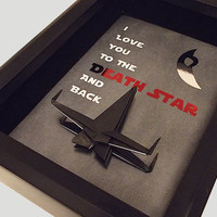Star Wars I Love You To The Death Star And Back, Anniversary Gift For Men, Framed Art, Includes 5X7 Shadowbox With An X Wing Fighter Jet.