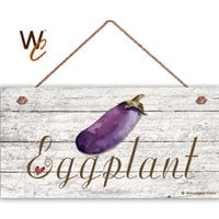 "Eggplant Sign, Garden Sign, Rustic Decor, Distressed Wood, Weatherproof, 5"" x 10"" Sign, Vegetable Sign, Gift For Gardener, Made To Order"