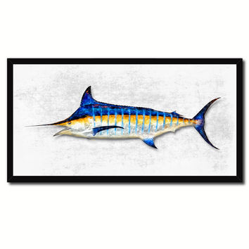 Blue Marlin Fish Art White Canvas Print Picture Frames Home Decor Nautical Fisherman Gifts