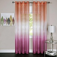 Ben&Jonah Collection Rainbow - Single Grommet Window Curtain Panel - 52x84 Pink