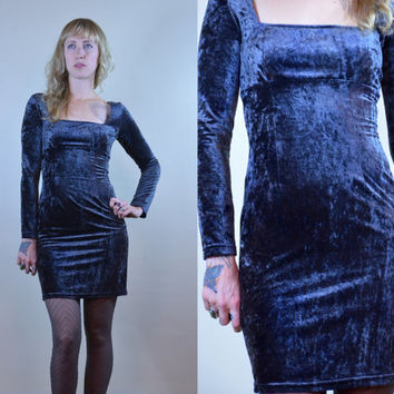 Vintage 90's Empire Waist Steel Grey Velvet Fitted Bodycon Dress