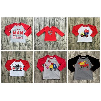 Valentine's Day baby boy's Ladies man on your dream arrow cotton boutique cute top T-shirt reglans childen clotes long sleeve