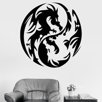 Vinyl Wall Decal Dragon Yin Yang Fantasy Myth Teen Room Chinese Stickers Unique Gift (ig3223)