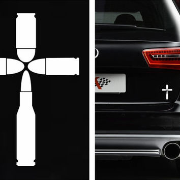 9MM Bullets Cross Bumper Sticker Vinyl Decal Ak47 Ar15 Gun JDM Honda Acura Dope Euro Turbo Jeep BMW Chevy Christian Holy Jesus